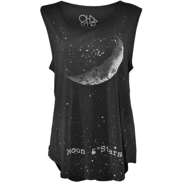 Chaser Crescent Moon and Stars Muscle Tank Top ($78) ❤ liked on Polyvore featuring tops, shirts, tank tops, tanks, star print top, slogan shirts, pattern shirts, muscle tank and star print shirt