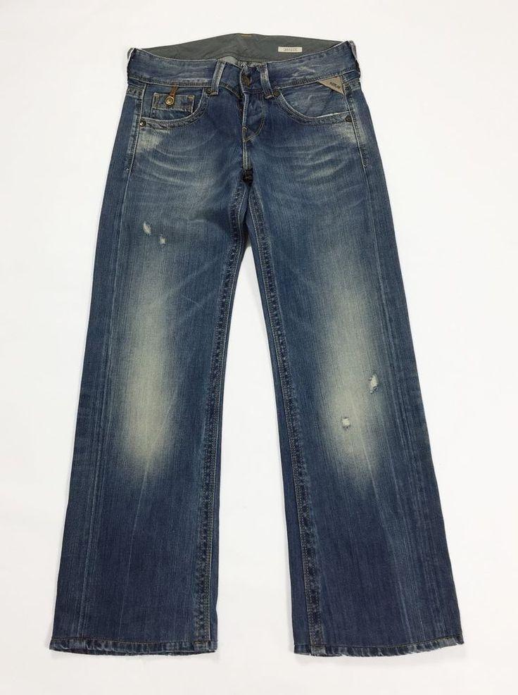Replay janice jeans w26 tg 40 loose leg zampa gamba larga usati blu donna T1695
