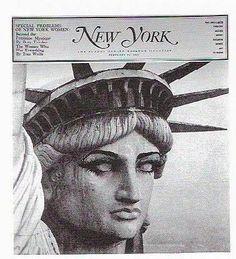 Peter Palazzo (diretor de arte), capa para New York, 1965. Para um número especial sobre questões das mulheres e o seu desejo de maior liberdade e igualdade, Palazzo aplicou sombra e rímel nos olhos da Estátua da Liberdade.