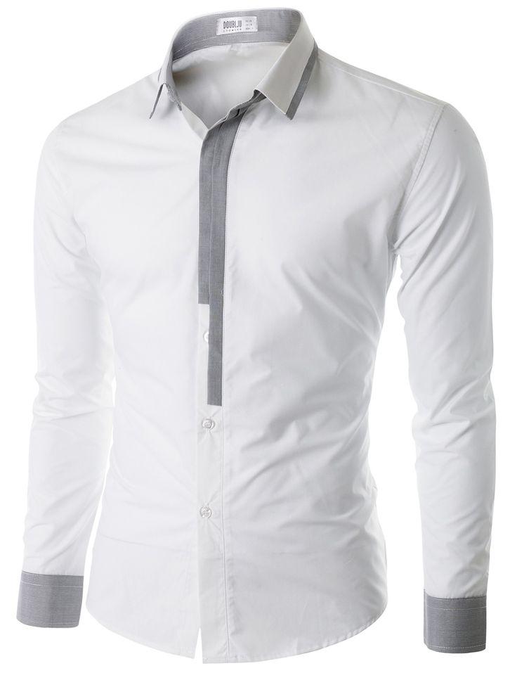 Doublju Men's Long Sleeve Button Down Dress Shirt (CMTSTL02) #doublju