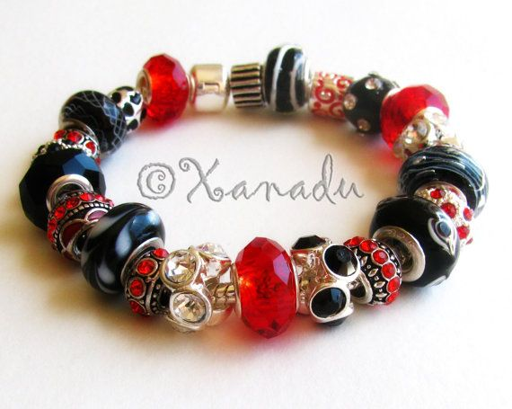 Lady In Red European Charm Bracelet Black By Xanaducharms On Etsy 39 95 Xanadudesigns Pandora Style