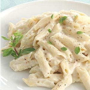 Alfredo Pasta Recipe 2 chicken brsts, 1 lb pasta, chick stock, 2 cps cream, 2 cups grated parmiggiano reggiano cheese, 2 eggs.  serves 4