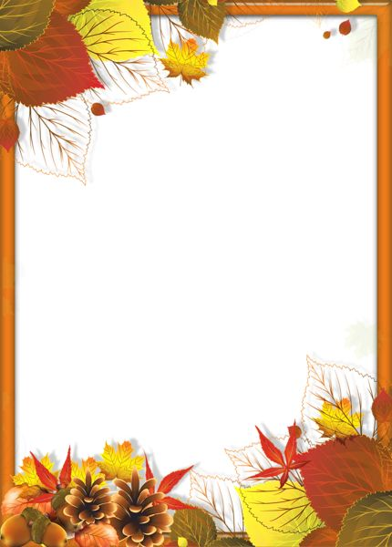 Transparent Fall PNG Frame with Leaves