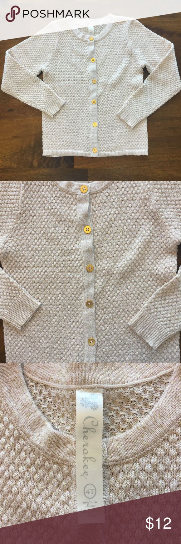 EUC Cherokee Gold Cardigan Size 4T EUC Cherokee gold cardigan. This is in perfect condition and only worn a couple times. Absolutely no signs of wear and from a smoke free and pet free home. Cherokee Shirts & Tops Sweaters