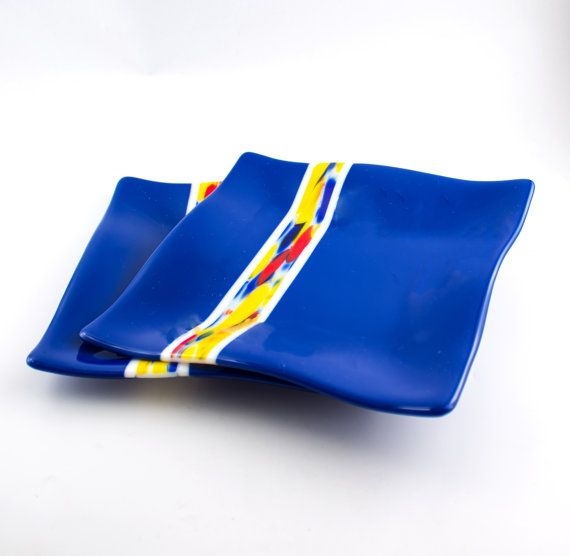 Cobalt Blue Fused Glass Plates Dinnerware Set by Nostalgianmore