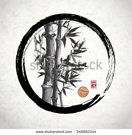 Bamboo trees in black enso circle hand-drawn with ink in traditional Japanese style sumi-e on rice paper. Sealed with decorative stylized stamps.