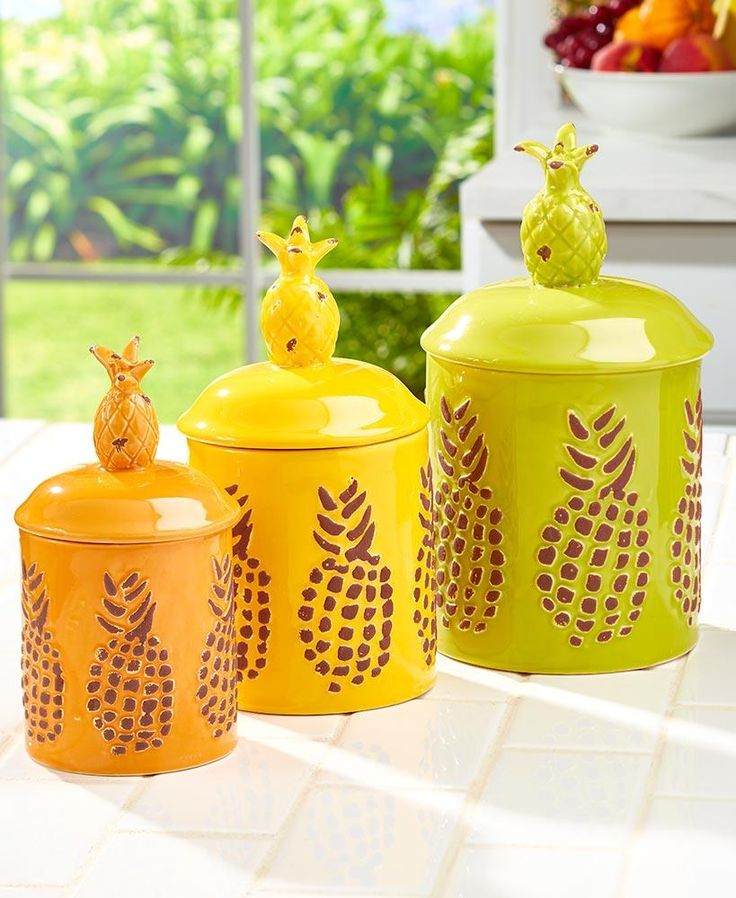 Pineapple Canister Set 3 Pce Coastal Tropical Beach Kitchen Decor
