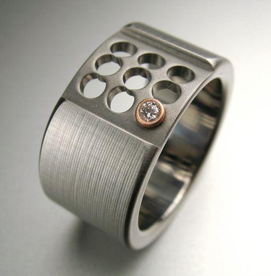 Awesome Men S Wedding Rings: Titanium Rose Gold Diamond Ring