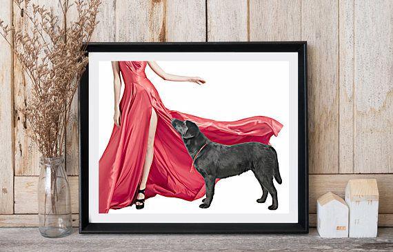 Labrador art Woman with dog Long red dress High heels