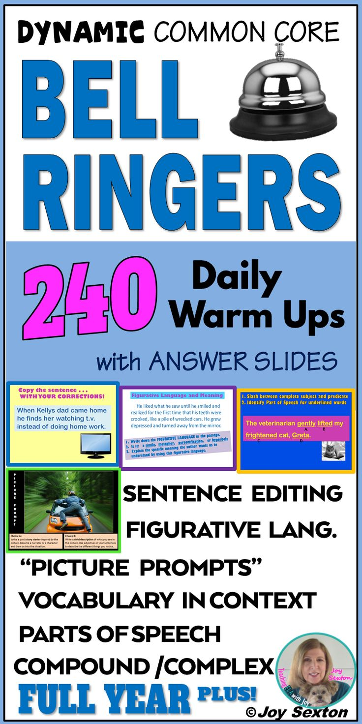 Engage your students at the start of class with these dynamic ELA Bell Ringers! The attractively-designed warm-ups provide 5-7 minute practice activities that get students thinking. Sentence editing, figurative language, writing prompts, and more!