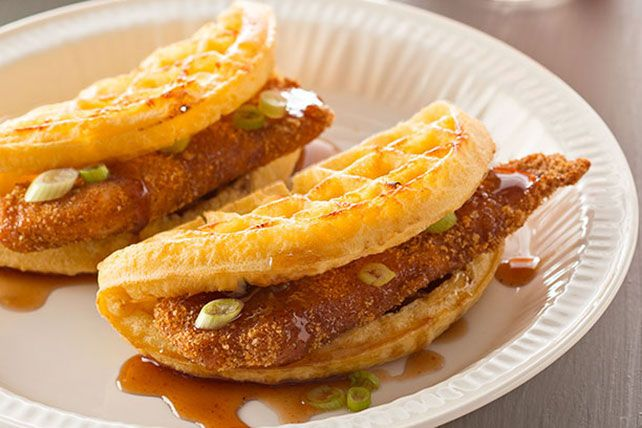 Stuffed with strips of tender chicken, round waffles stand in for tacos in this sweet and savory take on the Tex-Mex favorite.