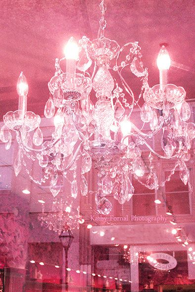 Crystal Chandelier Photograph Pink Sparkling Photo Dreamy Print Shabby Chic Decor Photos Usd By Kathyfornal