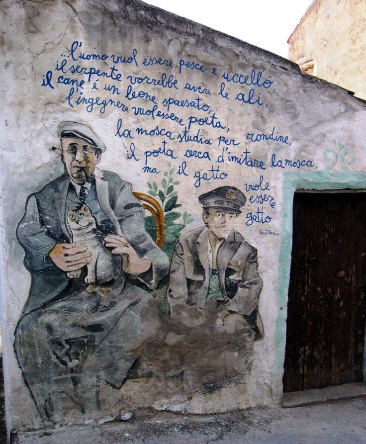 Pablo Neruda and his Postman mural in Orgosolo, Sardinia, Italy
