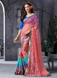 Multi Color Digital Print Work Latest Designer Sari For Party & Other Occasions