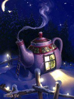 Christmas gif.  Moon with teapot and Christmas tree