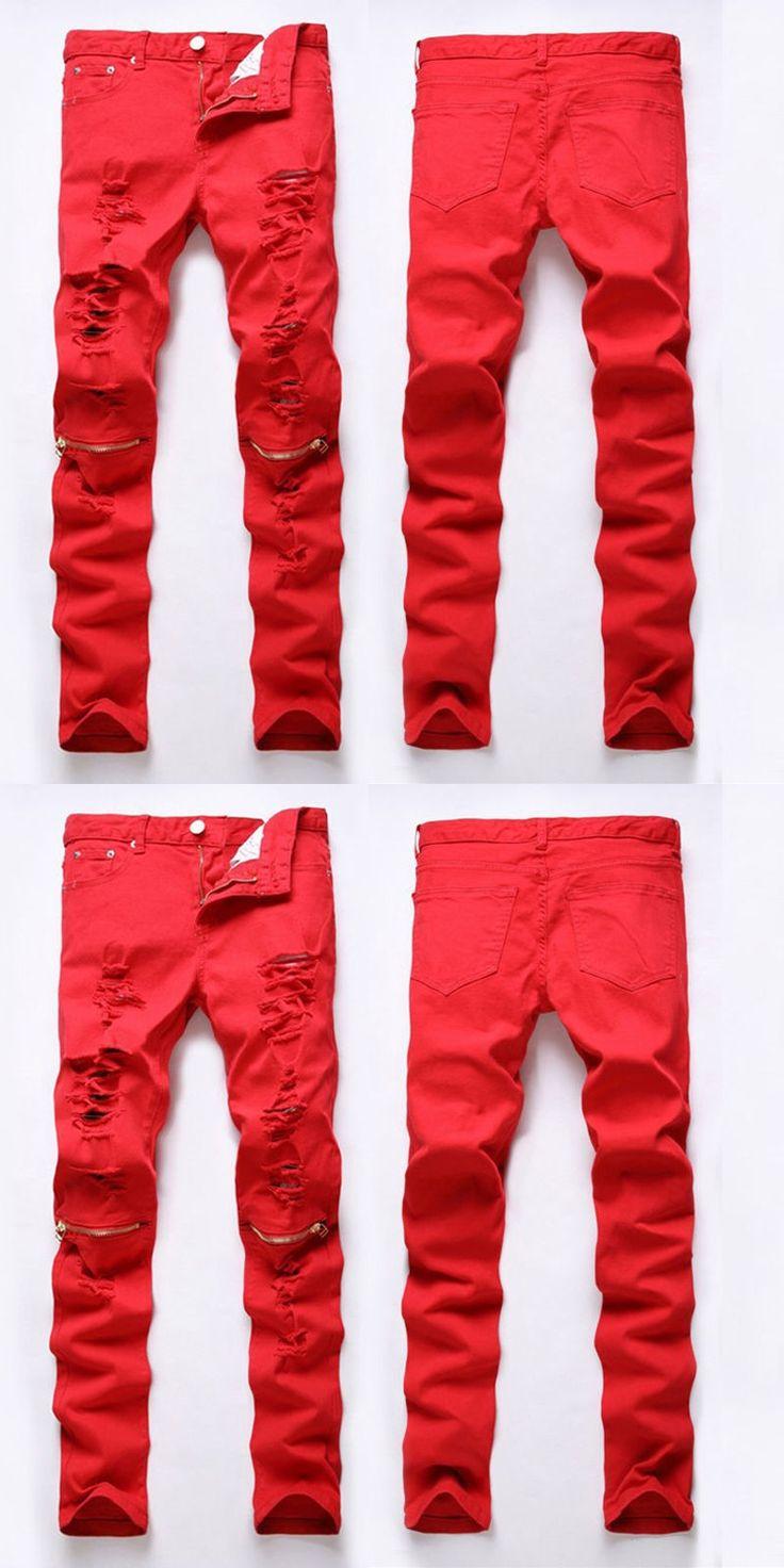 Casual Skinny Pants Man Clothing Fashion Men Designed Straight Slim Fit Zipper Fashion Pants Trousers