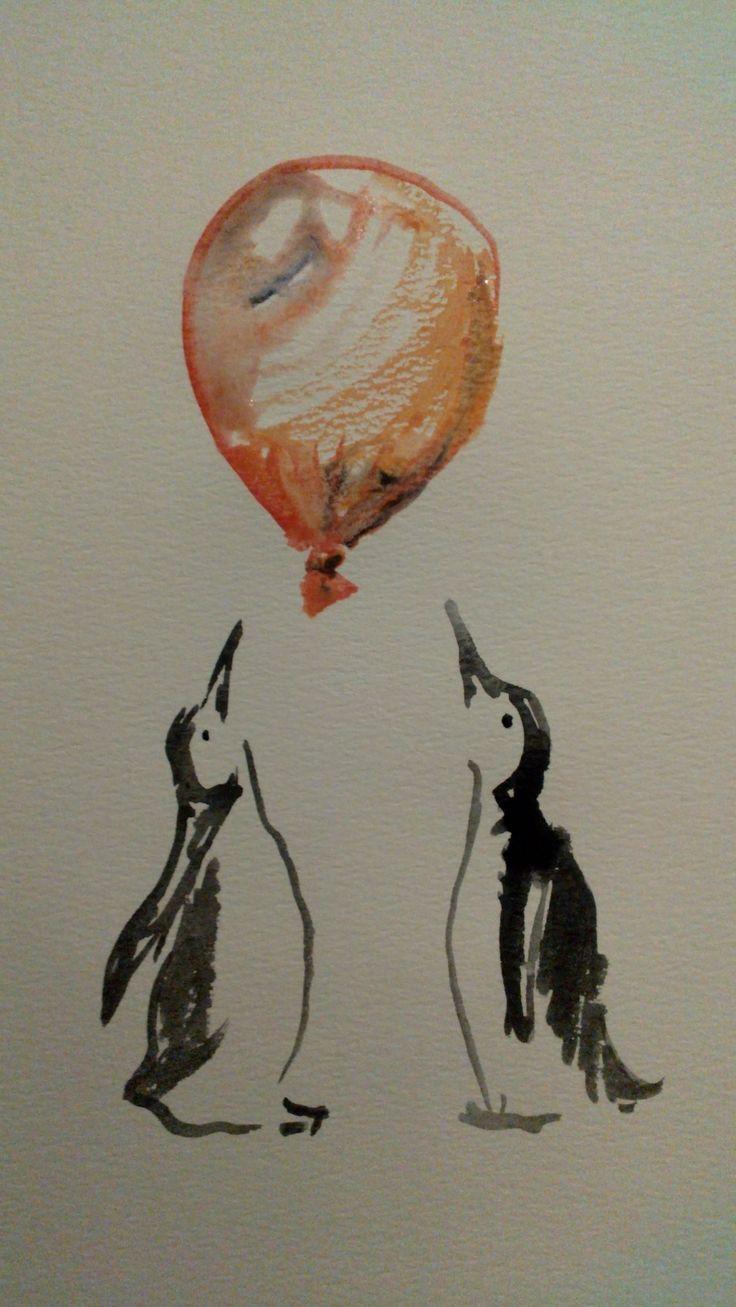 Penguins & balloon aquarelle