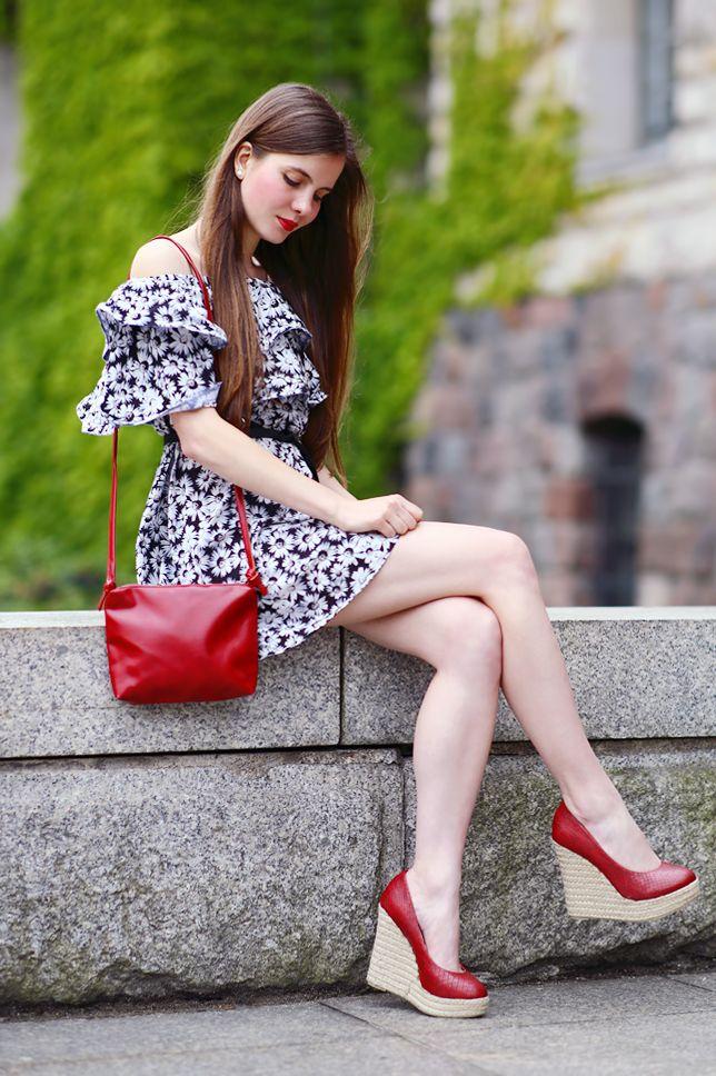 Black Floral Dress Shoulder Off Outfit Long Hair Babe Dress Dresses Cute Lipstick
