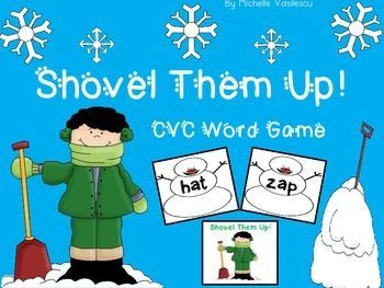 Shovel Them Up Game { Blending Sounds & Reading CVC Words} Students practicing reading CVC words while having fun! Great for centers or as a word work tool in Guided Reading