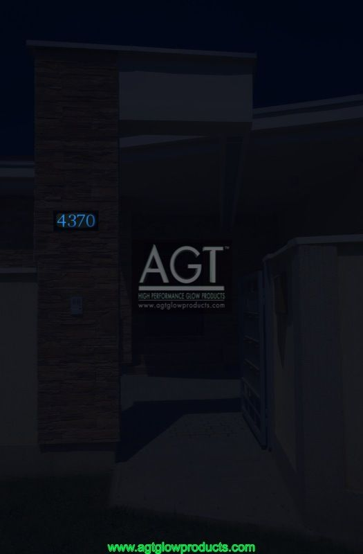 SKY Blue colored AGT Glowing House Number on modern Home - NIGHT_4370