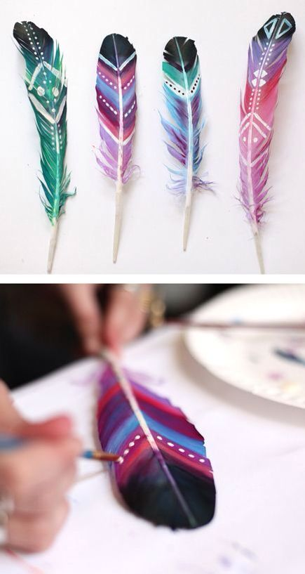 Beautiful pained feathers! For a fluff of color!