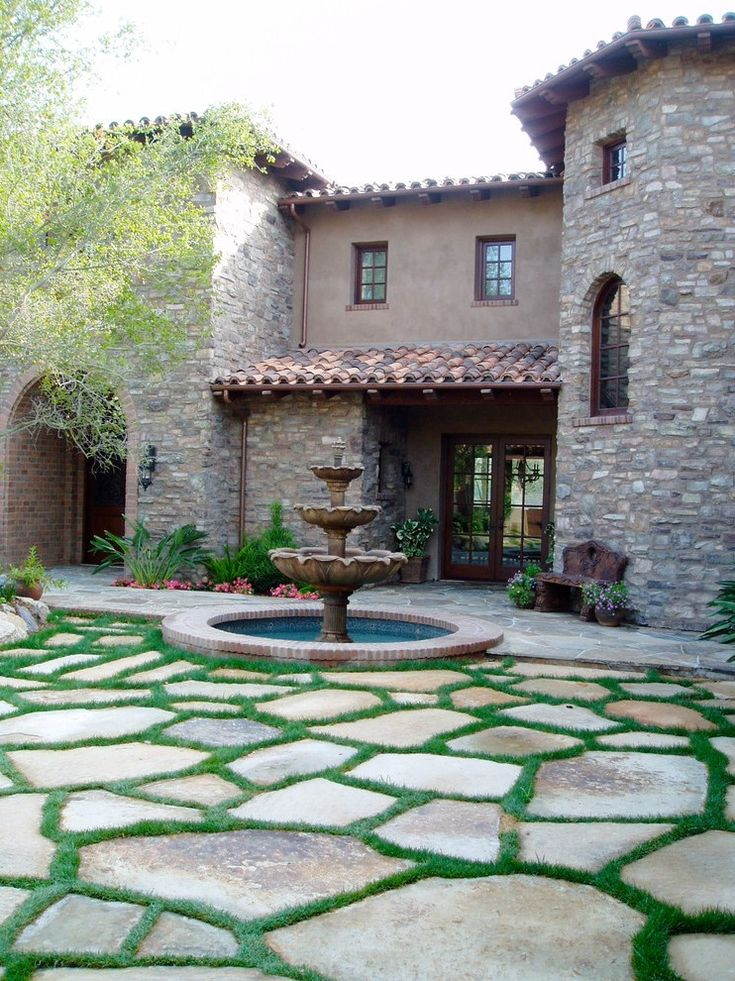 Paver Stone Patio Traditional with Waterfall Transitional Fire Pits