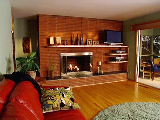 Tv Offset On Fireplace Brick Fireplace Makeover Floating Mantel Floating Fireplace Mantel