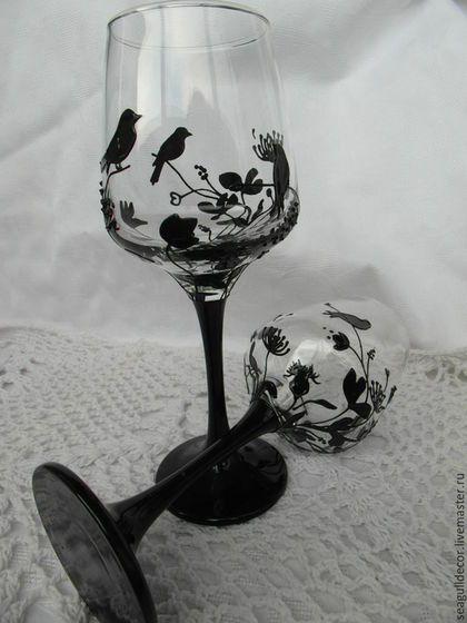 Бокалы, стаканы ручной работы. Ярмарка Мастеров - ручная работа. Купить Бокалы для вина Черное на белом. Handmade. Черный, вино