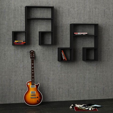 Wall Shelf (set of 2); music theme, $180; shelves, simple, stylish, artistic bookcases; Dimensions: H: 32″ W: 34.9″ D: 8.6″