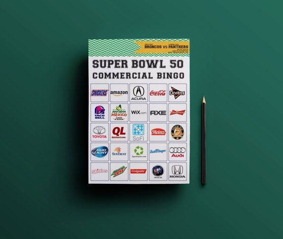 SUPER BOWL 50 Party Game // Super Bowl Commercial Bingo Printable // Carolina Panthers vs. Denver Broncos // Football Bingo Game by Pro Party Planner $4