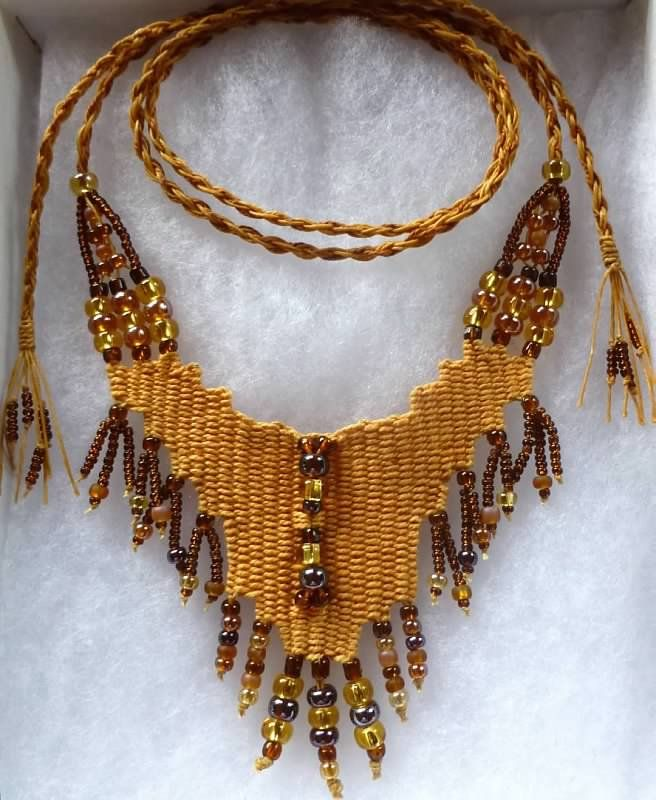 """Autumn Gold"" - 2013 - Adjustable Length, SOLD. Hand woven, handwoven, weaving, weave, needleweaving, pin weaving, woven necklace, fashion necklace, wearable art, fashion necklace, fiber art."