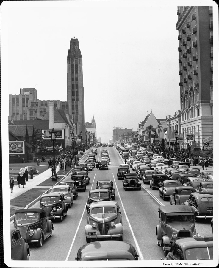 The cars change, but the traffic stays the same: Wilshire Boulevard traffic jam, 1930's