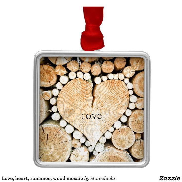 Love, heart, romance, wood mosaic