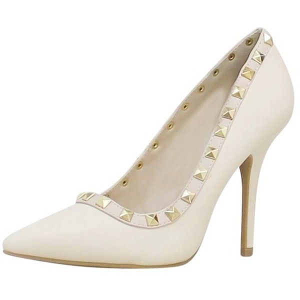 Cream Patent Leather Pumps Nude Trim & Gold Studs ($40) ❤ liked on Polyvore featuring shoes, pumps, heels, cream, rocker shoes, patent pumps, stiletto heel shoes, gold studded shoes and patent leather shoes