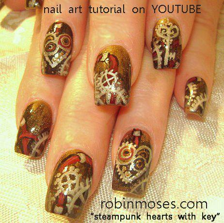 Steampunk nailsHeart Nails, Nails Art, Robin Moses, Fall Nails, Steampunk Heart, Steampunk Nails, Steam Punk, Valentine Nails, Nails Polish