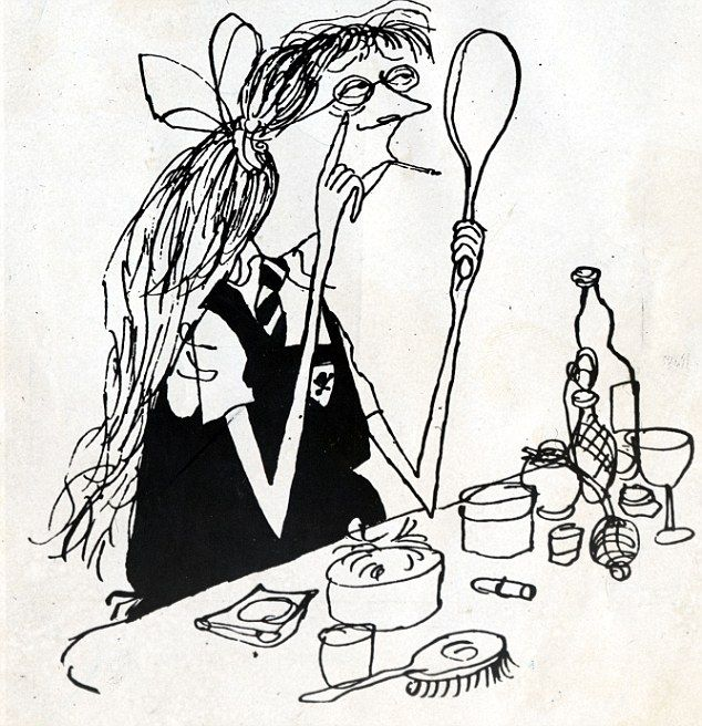 Searle's spindly characters of St Trinian's were distinctive with stockinged legs, ferocious expressions and their dastardly acts of torture