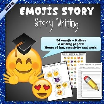 Have fun with these Emojis Writing Tools! ☆☆☆☆ Here is a set of 9 dice and 4 worksheets to practice writing stories with emojis our teens love. You can use the dices whatever the language you teach. 1 - Students roll 9 dices with emojis (faces, nature, people, objects, food, weather ...) 2 - They cut these emojis out and stick them on a writing worksheet (various teaching possibilities detailed in the included teacher's notes) 3 - They write a story (they can even draw the emojis inside t...