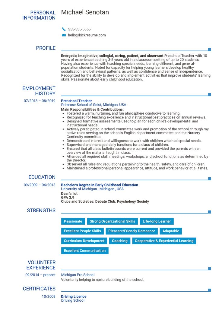 Preschool resume example in 2020 teacher resume examples