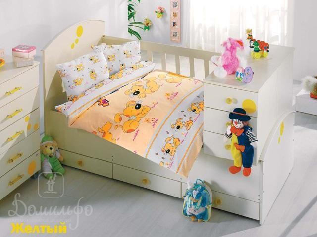 www.domilfo.ru +7(495)960-90-70. Постельное белье для малышей SEVIMLI желтое от производителя Altinbasak (Турция)