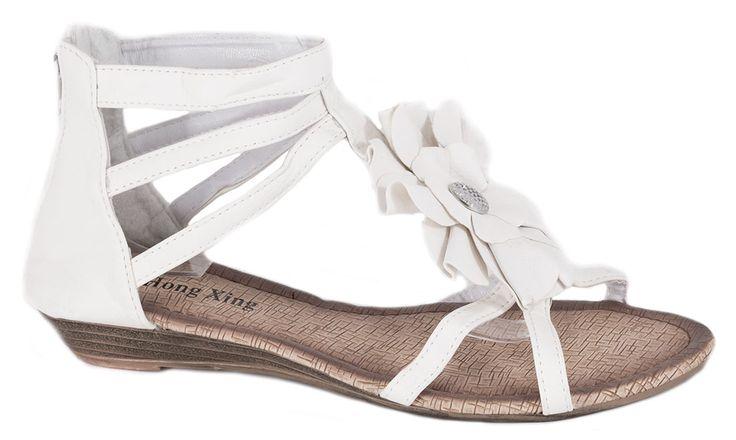 Sandale fara toc - Sandale albe de dama W-110A - Zibra
