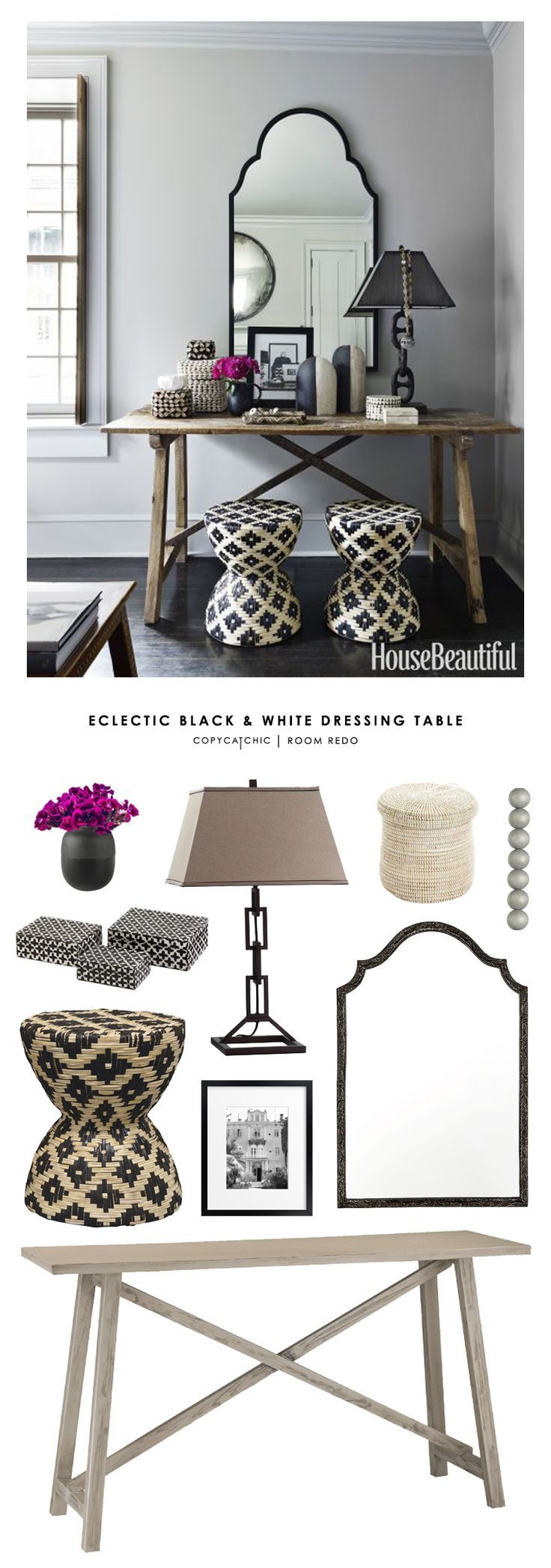 An eclectic black, white and gray entryway designed by Erin Gates of Elements of Style & featured in House Beautiful gets recreated for less by @copycatchic