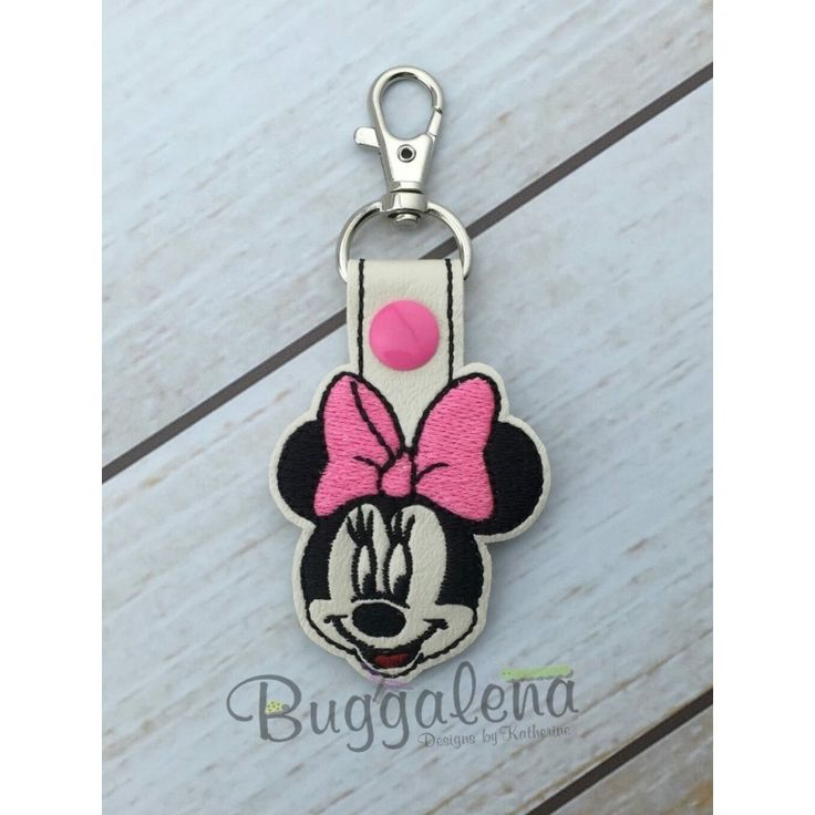 In The Hoop Miss Mouse Snap Tab Key Fob Embroidery Design