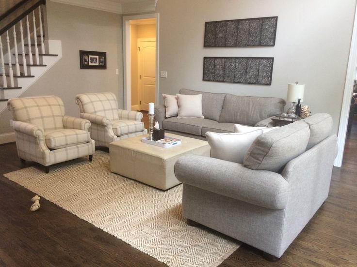 Grey Couches Patterned Chairs Jute Rug Cream Leather