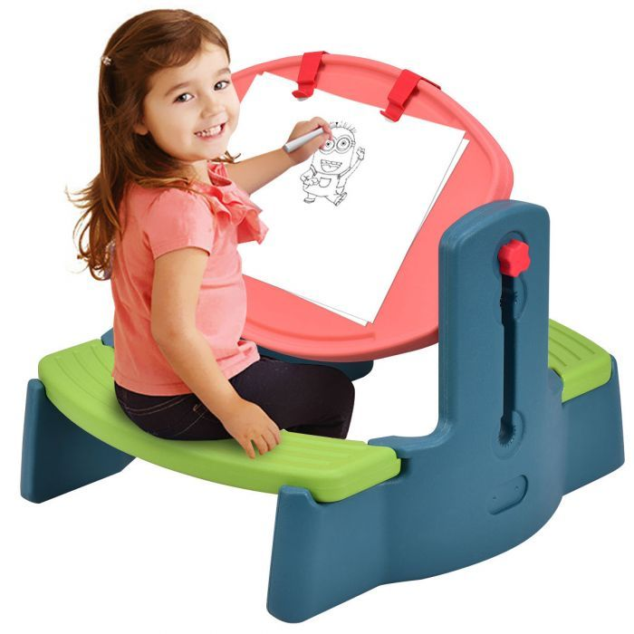 Plastic Height Adjustable 2 In 1 Children Drawing Table Chair Set Kids Table Chair Set Toddler Desk And Chair Kids Chairs