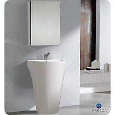 Parma Évier piédestal blanc avec armoire à pharmacie - Meuble-lavabo de salle de bains moderne