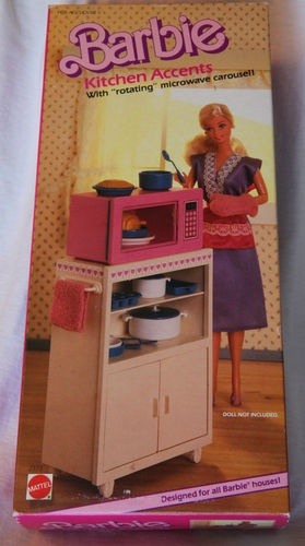 Adorable! RARE Mattel Barbie Kitchen Accents with Microwave   eBay