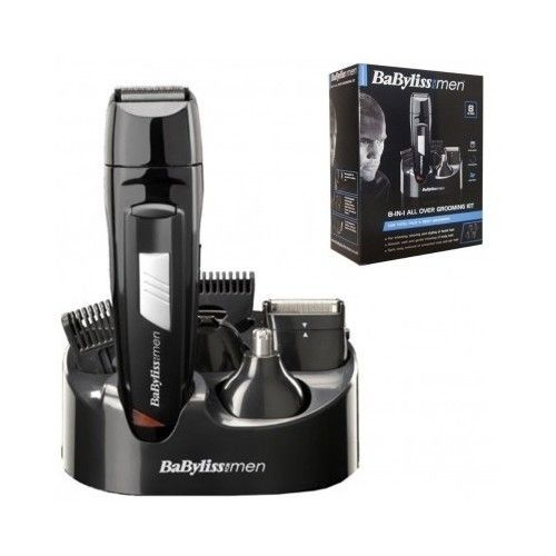 BABYLISS 8 IN 1 MEN GROOMING KIT CORDLESS HAIR BODY CLIPPER BEARD TRIMMER 7056CU