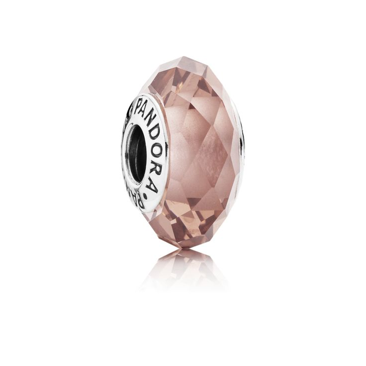 PANDORA | Abstract silver charm with faceted blush pink crystal
