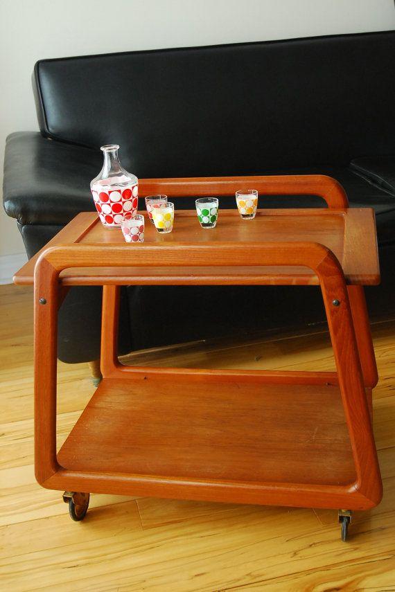 Danish Teak tea trolley - serving bar cart - Mid century -mod - on Etsy, $354.17