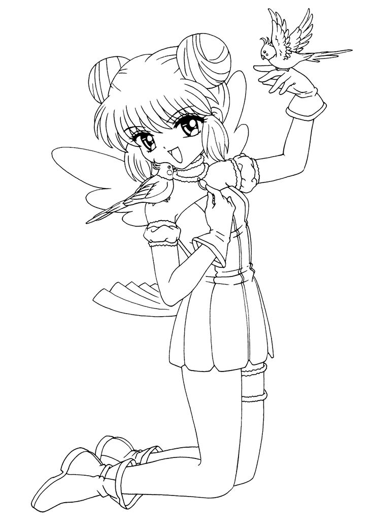 mint from mew mew anime coloring pages for kids printable free